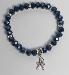 Armband donkerblauwe swarovski style kristal kralen met bedeltje