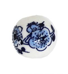 Delfts blauwe kraal 4 bloem, 10mm. Per 10 stuks.