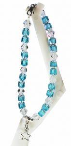 Armband helder blauwe 6mm glaskralen met kristal bicones