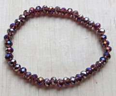 Armband facetgeslepen lila-paarse diamant coating 6x4mm kralen