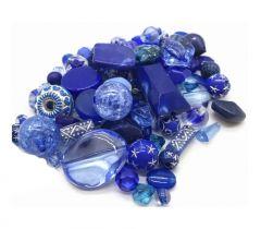 Acryl mix blauwe kralen verschillende afmetingen, 20 gram.