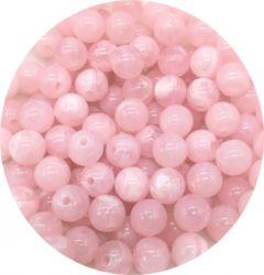 Acryl kraal rond, 6mm, imitatie rozekwarts, 48-50 stuks.