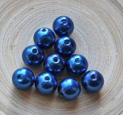 Acryl kralen donkerblauw 12mm, 10 stuks