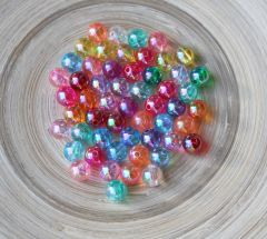 Acryl transparante kralen mix 8mm, 50 stuks