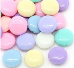 Acryl kralenmix platte pastelkleurige kralen 12mm. Per 10 stuks.