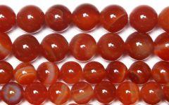 Snoer Agaat rood gestreept 4mm.