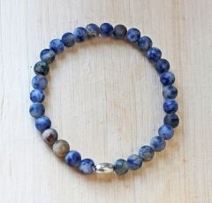Armband Agaat blauwig 6mm frosted