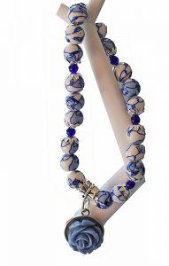 Armband delftsblauwe kralen met bedel 02a
