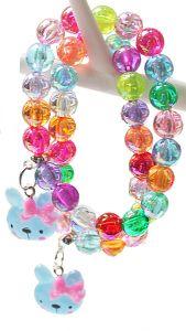 Kinderarmband kleurige kralen met poezekopje