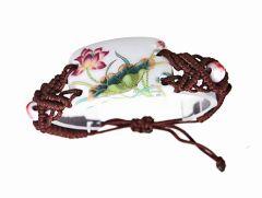 Armband brede porselein kraal Lotus