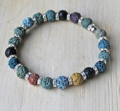Armband lava in diverse kleuren met strass kralen