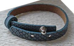 Armband slangenprint leer denim blauw dames, 16-20cm