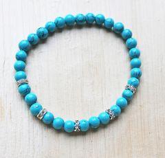 Armband Turkooiskleur blauw 6mm met strass