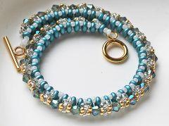 Armband Bangle blauw-goud, 20cm