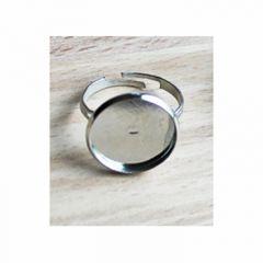 Verzilverde basis ring voor 12mm cabochon, mt 17