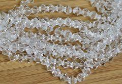 Glaskraal facetgeslepen bicone 4mm, helder kristal. Per 20 stuks