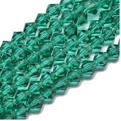 Glaskraal facet bicone teal 4mm. Per 40 stuks.