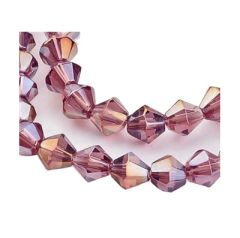 Zakje bicone kralen preciosa licht amethist met AB coating, per 28 stuks.