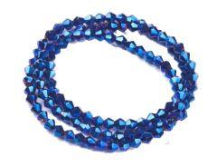 Glaskraal bicone donker saffier blauw opaque 4x4mm. Per 40 stuks.