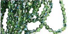Glaskraal bicone groen, licht transparant met plating, 3x3mm. Per 50 stuks.
