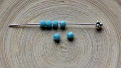 Glaskraal facetgeslepen bicone 4mm, blauw  turkoois. Per 20 stuks