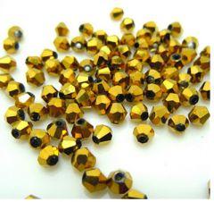 Bicone kristal kraal goudkleurig 4x4mm, 45-50 st.