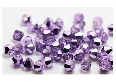 Bicone kristal kraal lila met plating, 4x4mm. 45-50 st.