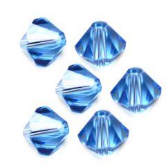 Bicone licht saffier blauw 4x4mm AAA kwaliteit, per 20 stuks.