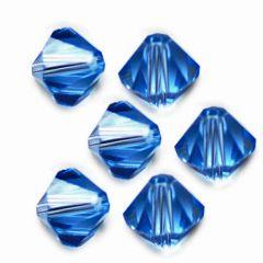 Bicone saffier blauw 6x6mm AAA kwaliteit, per 10 stuks.