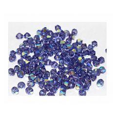 Zakje bicones preciosa Tanzanite AB 4x4mm, per 20 stuks.