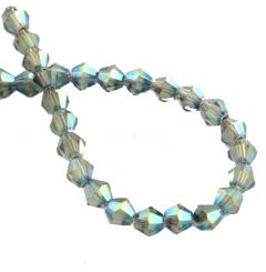 Glaskraal bicone zeegroen, AB coating, 4x4mm. Per 40 stuks.