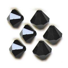 Bicone git zwart 4x4mm AAA kwaliteit, per 20 stuks.