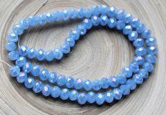 Snoer facetgeslepen opaque kralen licht blauw met diamant coating, 8x6mm