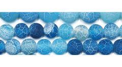 Kraal Agaat lichtblauw gestreept frosted, 6mm. Per kraal.