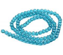 Zakje facetgeslepen sky blue glaskralen 4mm, 73-75 stuks.
