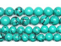 Snoer groen-blauwe 6mm turkooiskleur kralen