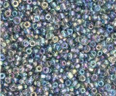 Rocailles Blauw/grijs multi AB transprarant 12/0. Per 10 gram