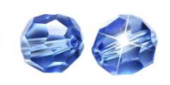 Glaskraal facetgeslepen AAA kwaliteit 6mm licht saffier blauw. Per stuk.
