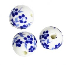 Delfts blauwe kraal klein bloempje, 12mm. Per 10 stuks.
