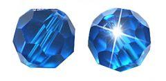 Glaskraal facetgeslepen AAA kwaliteit 6mm Capri Blauw. Per stuk.