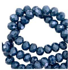 Zakje top facet rondel 6x4mm koningsblauw met satijnglans. Per 55 kralen.
