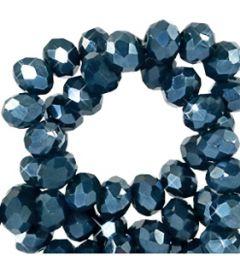 Zakje top facet rondel opaque koningsblauw met coating, 6x4mm. Per 60 stuks.
