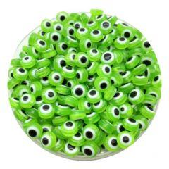 Acryl kralen Boze oog groen-wit 8mm. Per 20 stuks.