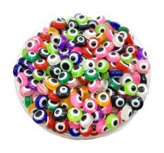 Acryl kralen boze oog kleurig, 6mm. Per 20 stuks.