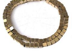 Snoer Hematiet kralen 4x4mm lichte bronskleur