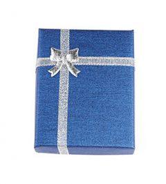 Cadeau doosje blauw met zilver voor ketting of armband  9x7x3cm. Per stuk.