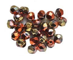 Glaskraal facetgeslepen 4mm California Gold Rush, 4mm. Per 50 stuks.