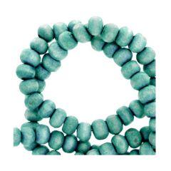 Houten kraal 6mm blauw/groen per 100 stuks.