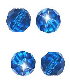 Glaskraal facetgeslepen AAA kwaliteit  8mm Capri blauw. Per 5 stuks.