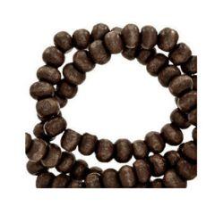 Houten kralen donker chocolade bruin 6mm, per 100 gram